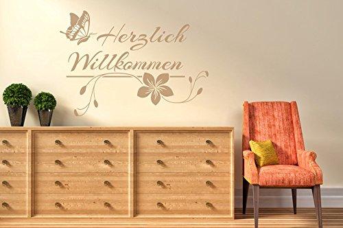 Wandtattoo-bilder-Herzlich-Willkommen-Nr-1-Wandtattoo-Flur-Sprche-Schmetterling-Gre-60x42-Farbe-Hellbraun