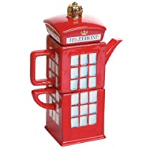 Claybox Hand Crafted British London Calling Telephone Booth Pottery Tea Pot and Cup Set