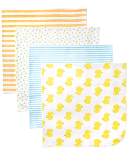 Gerber Unisex-Baby Newborn 4 Pack Neutral Flannel Blanket- Ducks, Yellow, One Size