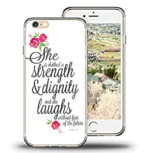 iPhone 6s Case, iPhone 6 Case Viwell TPU Soft Case Rubber Silicone Quotes Proverbs 31:25 white flowers