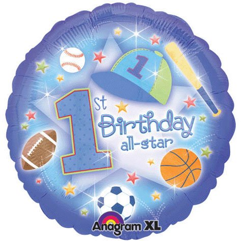 "Anagram International First Birthday All Star Balloon, 18"", Multicolor"