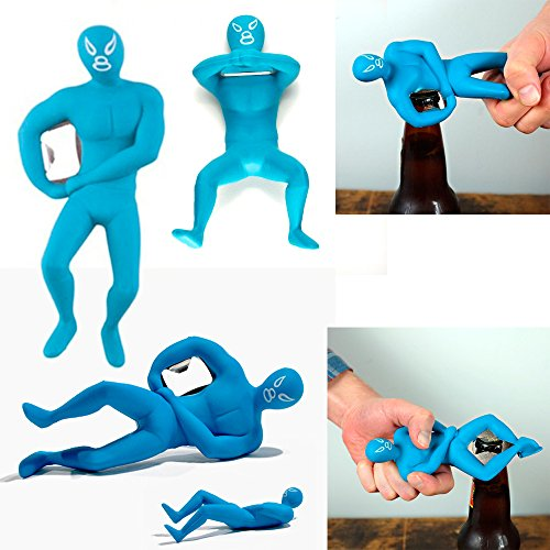 Luchador Bottle Opener Beer Cap Metal Ring Rare Novelty Gift In Blue Kikkerland (Luchadores Bottle Opener compare prices)