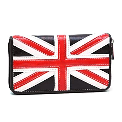 Dasein British Flag Zip Around Checkbook Wallet - Coffee