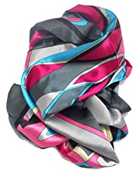 Quintessential Graphic Print Silk Blend Scarf Shawl Wrap Throw (Gray)