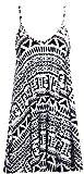 O58 NEW WOMENS LADIES SLEEVELESS STRAP PLAID CAMI SWING VEST TOP PLUS SIZE DRESS 08-32 (2XL (UK 20-22), AZTEC PRINT WHITE/BLACK)