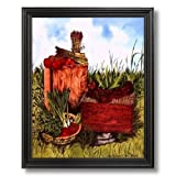 Country Chicken Hen Kitchen Home Decor Wall Picture Black Framed Art Print