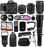 Nikon D750 DSLR SLR Digital Camera + 18-55mm VR II + 6.5mm Fisheye + 55-300mm VR + 650-2600mm Lens + Filters + 128GB Memory + Action Stabilizer + i-TTL Autofocus Flash + Backpack + Case + 70