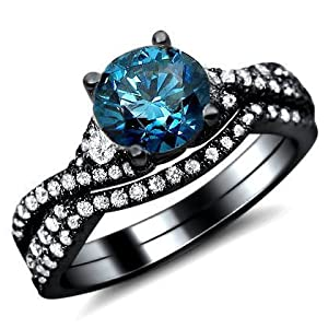 1.15ct Blue Round Diamond Engagement Ring Bridal Set 18K Black Gold With A .65ct Center Diamond and .50ct of Surrounding Diamonds