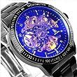 Mens Mechanical Watch,Cool Black Steel Heterochrosis Men's Skeleton Auto Watches Gift