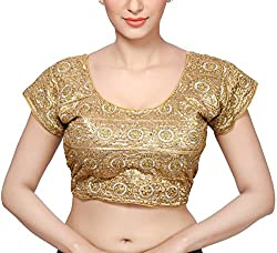 Santosh Fashion Women's Silk Cotton Blouse (BL-11_Gold_Medium)(pack of 4)