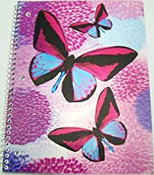 iDimension Poly Lenticular Cover Notebook Bold Butterflies on Pastels Flowerheads (70 Sheets, 140