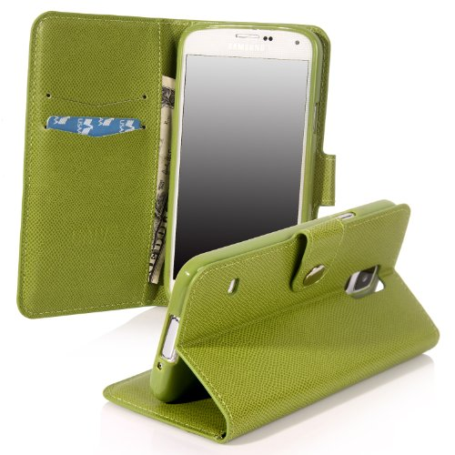 Galaxy S5 Case, Galaxy S5 Flip Case - E Lv Deluxe Pu Leather Folio Wallet Case Cover For Samsung Galaxy S5 / Galaxy Sv / Galaxy S V (At&T, T-Mobile, Sprint, Verizon) - Green