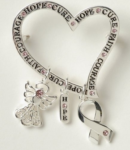 Pack of 8 Breast Cancer Awareness Heart with Charms Pins 2.25