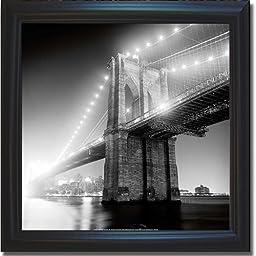 Brooklyn Bridge by Adam Garelick Premium Satin-Black Framed Canvas (Ready-to-Hang)