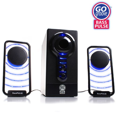 GOgroove BassPULSE Hi-Fidelity 2.1 Stereo Sound System with Subwoofer and Satellite Speakers for PC, Mac, MP3, iPod, Tablets and Home-Theater