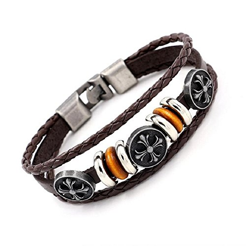 Fariishta Jewelry Fashion Hand Braided Alloy cross Leather Wrap Bracelet£¨brown£© (Wish Ticket Roll compare prices)
