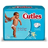 Cuties Baby Diapers, Size 3, 36 Count (Pack of 4)