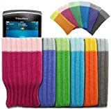 Mobilizers: Pack of 6 Stylish Soft Mobile Phone Socks For BlackBerry 8520 / 8900 / 9300 / 9700 / 9780 / 9800 / 9810 / 9900 / 9930 / Curve 3G - Color Includes ( Blue / Gray / Green / Orange / Pink / Purple )