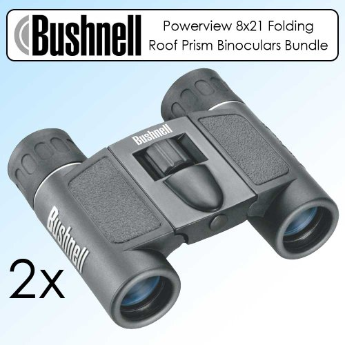 Bushnell Powerview 8X21 Folding Roof Prism Binoculars - 132514 Bundle Of 2