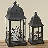 The Napa Vines Hurricane Candle Lanterns, Set of 2, Weathered Black Iron and Crystal Clear Glass, Vintage Style With Ringed Chateaux Style Tops, 19 ¾ and 14 5/8 inches tall, By Whole House Worlds