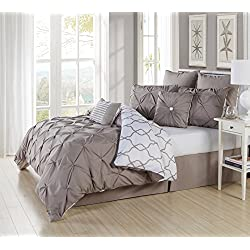 Ruthy's Textile 3 Piece Pintuck Printed Reversible Duvet Cover Set, Duvet Cover with 2 Pillow Shams High Quality- Luxurious, Comfortable, Breathable, Soft (Full/Queen, Taupe)