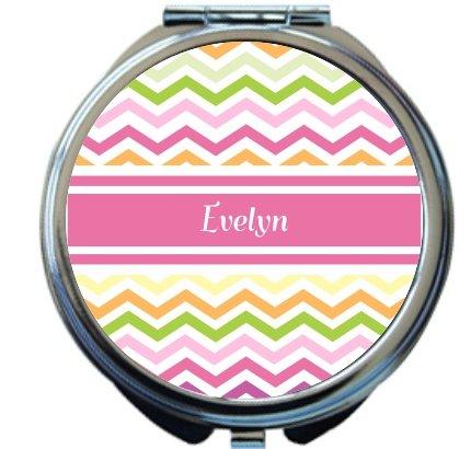"Rikki Knighttm ""Evelyn"" Pink Chevron Name Design Round Compact Mirror front-592311"