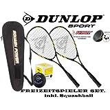 DUNLOP Squashset 2x Biotec X Lite Squashschläger , Squashball & Fullsize Thermobag Schlägertasche ! Ideal für den Einstieg in die Welt des Squash