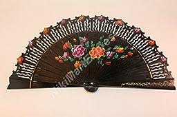 Quality Spanish Flamenco Vintage Dance Wooden Folding Hand Held Fan Multi-Colors (Black)