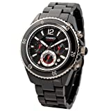 Time100 セラミック 多機能 SEIKOクオーツ 日付表示 夜行付 クロノグラフ 50M防水 メンズ腕時計#W70040G.01A (黒い) (ブラック)