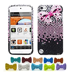 Apple iPod Touch 5G Pink Ribbon Hard Case, 1 Rhinestone Bowtie Dust Plug [Cellular Connection Packaging]