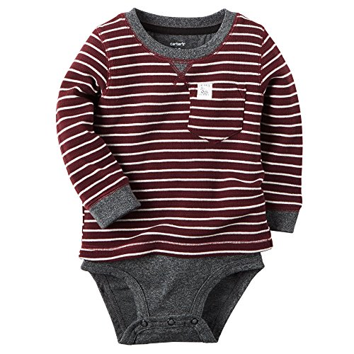 Carter's Baby Boys' Stripe Layered Pocket Thermal Bodysuit (18m, Red) (Baby Thermal Bodysuits compare prices)