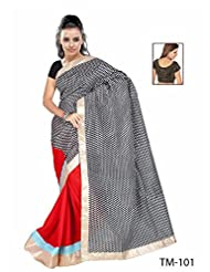 Black Printed Saree With Matching Blouse