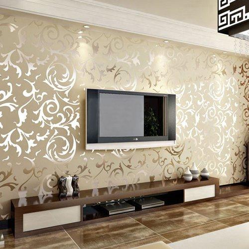 Tgsik elegant embossed pattern surface flocking design for Wallpaper home hardware