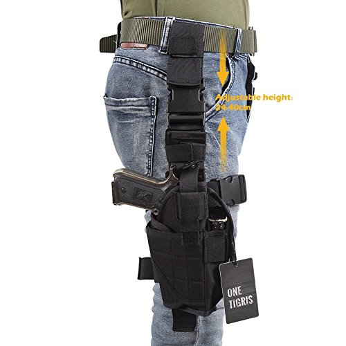 OneTigris Adjustable Drop Leg Holster Tactical Military Airsoft Pistol Gun Thigh Holster Upgraded Version (Black) (Army Gun Holster compare prices)