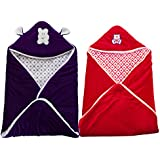 MY NEWBORN BRAND Baby's Combo Of 2 All Season Use 3 In 1 Baby Wrapper Cum Blanket Cum Sleeping Bag Cum Bedding (0-4Months) (Purple-Red)