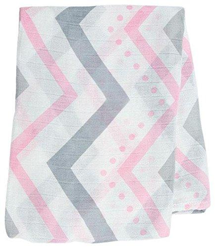 Lulujo Baby Bamboo Muslin Swaddling Blanket, Chevron/Pink/Grey