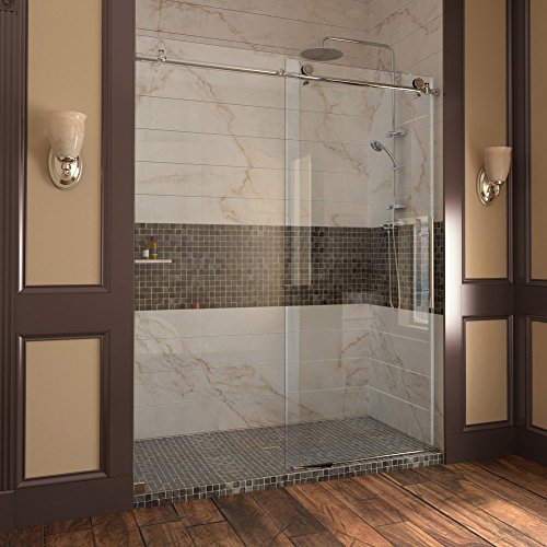Great Deal! DreamLine Enigma-X 56 to 60 in. Fully Frameless Sliding Shower Door, Brushed Stainless S...