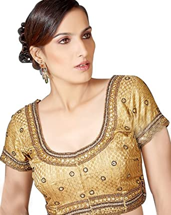 Deluxe Gold Brocade Sari Blouse Ready-made Choli Stitched Saree Blouse
