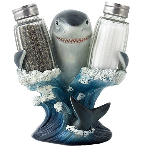 Great White Shark Glass Salt and Pepper Shaker Set