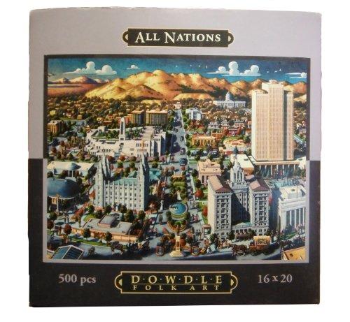 """Eric Dowdle Folk Art Puzzle -All Nations - Salt Lake City - 500 Pieces 16 x 20"""""""