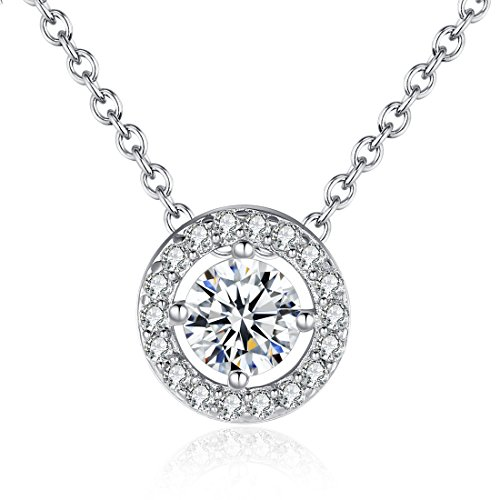 Bamoer White Gold Plated Pendant Necklace Cz Lover Jewelry Drop Gift