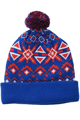 Red and Blue Fair Isle Pom Beanie by Tipsy Elves - One Size