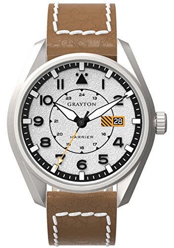 Grayton Harrier Men's Quartz Watch with White Dial Analogue Display and Brown Leather Strap GR-0014-005.2