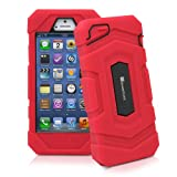 GreatShield TUFF Series Rugged Dual Layer Hybrid Case with Belt-Clip Holster Combo for Apple iPhone 5 (Red)