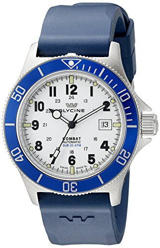 Glycine-Mens-3908-14B-D8-Combat-Sub-Automatic-Watch-With-Blue-Rubber-Band