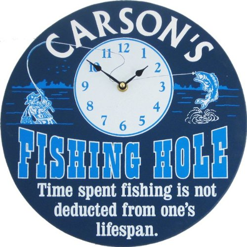 Personalized Fishing Hole Clock Custom Wooden Novelty Sign