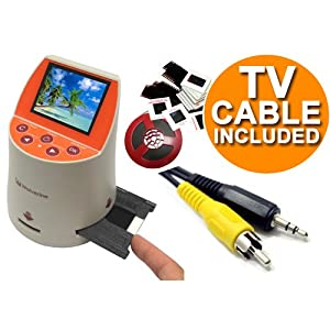 Wolverine F2D Mighty 20MP 7-in-1 Film to Digital Converter and 3.5mm (M) to RCA Composite (M) TV Video Cable Bundle