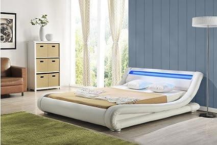 Bett Madrid, weiß, LED-Kopfstutze,doppelbett