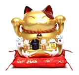 LifeStyle 招き猫 開運 貯金箱 金運 置物 インテリア 縁起物 まねきねこ ビッグサイズ (ゴールド)