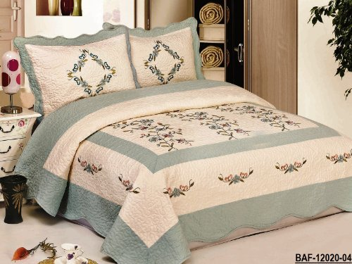 Check Out This 3pc Beige / Aquablue Nice Design Fully Quilted Embroidery Bedspread Bed Coverlets Cov...